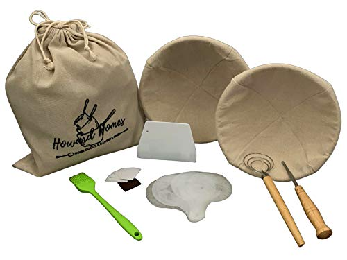 Howard Homes Banneton Bread Proofing Basket Set of 2 Round 10 & 9 Inch + Sourdough Bread Making Kit: Liners, Bread Lame, Dough Cutter/Bowl Scraper, Whisk, Basting Brush, Design Stencils, Canvas Bag