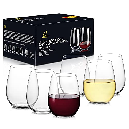 CREATIVELAND Stemless Wine Glasses Set of 6 Hand-Made Heat-Resistant Borosilicate Glass, drinking glass, Cocktail glass, Mixed Drinking Glass, Ideal for Wine Lover 21.1oz/600ML