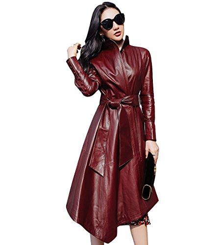LAI MENG Damen Elegante Slim Fit Stil Trenchcoat in Lederoptik mit Asymmetrische Saum, Lange Jacke in Lederoptik mit Gürtel, Burgund, 44 (Asien 3XL)