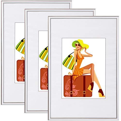 WOLTU BR9863sb-3 Bilderrahmen 3er Set mit Passepartout Kunststoff Rahmen, Glasvorderseite, Silber, 28x35 cm