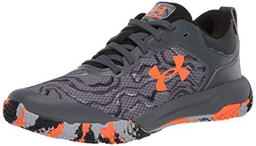 Under Armour Unisex-Youth Grade School Mainshock 2 Sneaker, Pitch Gray (100)/Orange Spark, 4.5