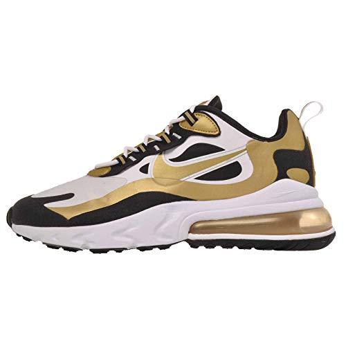 Nike Air Max 270 React Uomini, Bianco (bianco/oro metallizzato-nero.), 43.5 EU