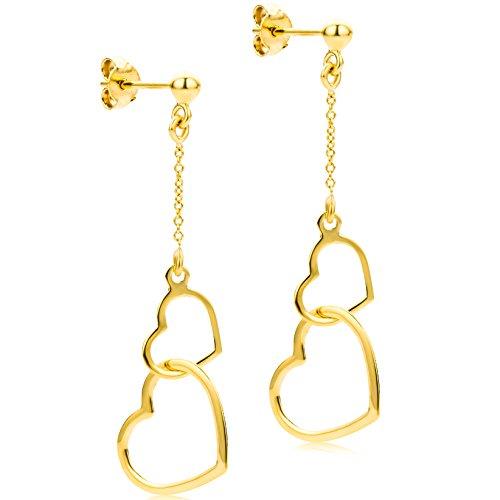 Orovi Pendientes Señora Corazón largos en Oro Amarillo Oro 9 Kt / 375 Pendientes Producido en Italia