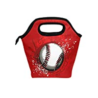 SAMAU ランチバッグ 保温 保冷 野球 ボール柄 レッド 弁当袋 かわいい お弁当バッグ おしゃれ防水 通勤 通学旅行 子供用 レディース メンズ