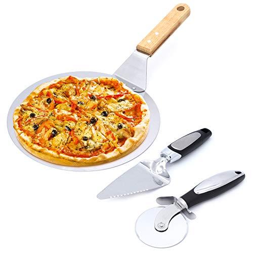Gearific Set Tagliapizza, Rotella Taglia Pizza 3 in 1 in Acciaio Inox + Pala Pizza + Pala Pizza Pala Pizza per Cuocere Pizza e Torta