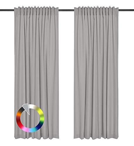Rollmayer Vorhänge mit Tunnelband Kollektion Vivid (Silbergrau 31, 135x240 cm - BxH) Blickdicht Uni einfarbig Gardinen Schal für Schlafzimmer Kinderzimmer Wohnzimmer