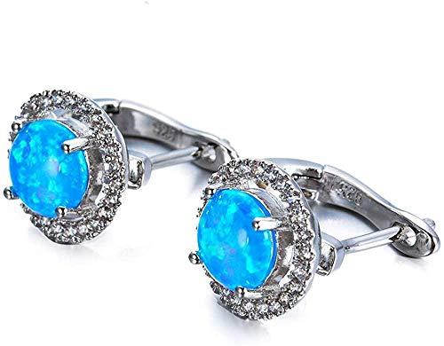925 sterling silver women earrings round design-Blue opal