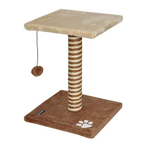 nanook Katzenkratzbaum Lazy, 44 cm mit Sitzplatz und Spiel-Ball für kleine, Junge Katzen, braun beige