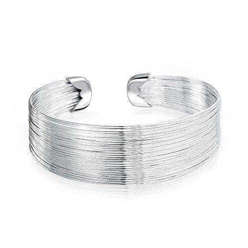 Bling Jewelry Multi Strand Dünnen Draht Breiten Armreif Verbunden Gestapelt Manschette Armband Für Frauen Silber Ton Edelstahl