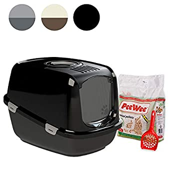 Litière pour chat XXL - Peewee ecodome Starter Pack noir