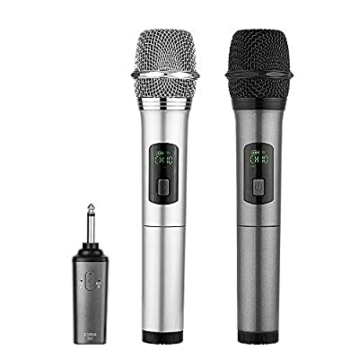 Wireless Microphone bluetooth, ARCHEER Dual Handheld Dynamic mic Portable UHF Karaoke Cordless Microphone with Rechargeable Bluetooth Receiver for Church Home Karaoke Business Meeting