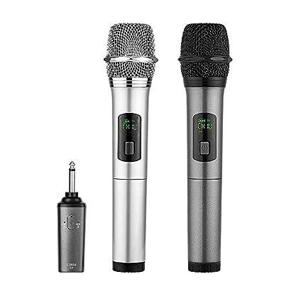 Wireless Microphone bluetooth, ARCHEER Dual Handheld Dynamic mic Portable UHF Karaoke Cordless Microphone with Rechargeable Bluetooth Receiver for Church Home Karaoke Business Meeting