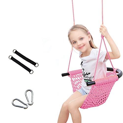 Los niños giran el Asiento de Swing Tejido a Mano para los niños Cuerdas de Servicio Pesado Silla de Giro Ajustable Interior al Aire Libre para el hogar Columpio Colgando Juguete (Color : Pink)