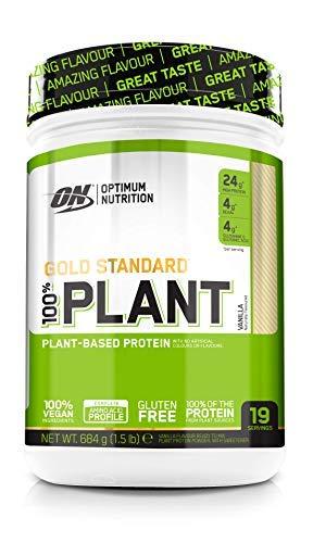 Optimum Nutrition 100% Plant Gold Standard, Proteina Vegana en Polvo, Proteinas Vegetales para Masa Muscular y Musculacion, Fuente de Vitamina C y B12, Vainilla, 19 Porciones, 684 g