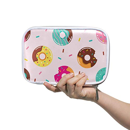 ZZAEO Cute Colorful Donuts Pencil Pen Case Pouch Stylish Makeup Cosmetic Bag Brush Bag Large Capacity Stationery Pouch with Zipper Closure for School Students Girls Teens Kids