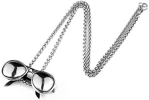 CCXXYANG Co.,ltd Collar Collar con Colgante De Gafas De Sol Negras Vintage Punk Rock De Acero Inoxidable con Cadena De 60 Cm Hombres para Él