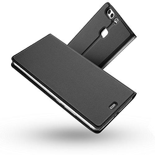 Cover Huawei P9 Lite,Radoo® Slim-Fit Folio Premium Custodia Vintage PU Pelle con [Kickstand] Lusso Tasca Stile Unico Sottile Funzione TPU Antiurto Flip Cover a Libro per Huawei P9 Lite(Grigio nero)