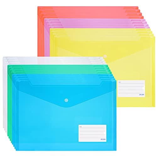 ZCZN ファイルケース ボタン式 クリアファイルバッグ A4 封筒型ファイル a4 透明カラー 6色 24枚セット 横型 タグポケット付き