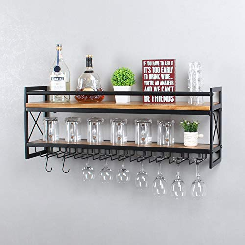 OISSIO Industrial Stemware Rack Wall Mounted,Wine Rack with Wood Shelves,2 Tier Stemware Storage with 9 Stem Glass Holder for Wine Glasses,Mugs,Home Decor,Black(36 inch)