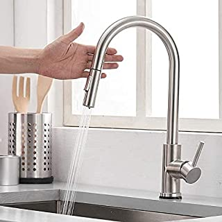 NIEHVEH Hands Free Smart Stainless Steal Kitchen Faucet with 2 Modes Pull Down Sprayer