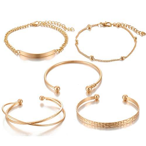 YIKOUQI Pulseras Bohemia con dijes para Mujer, diseño geométrico, Ajustable, Abierto, Conjunto de Pulseras de Oro Rosa, joyería de Lujo