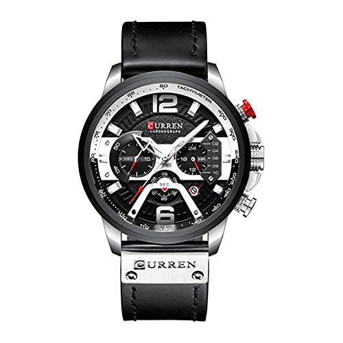 AMZSELLER Reloj De Hombre Reloj Impermeable para Hombres De Tendencia Moda Multifuncional De Seis Pines Reloj De Calendario De Marcación Grande (Color : Black and White)