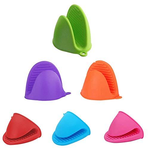 Guantes de protección contra escaldaduras, clip de color, guantes de silicona, guantes aislantes para horno, guantes para barbacoa, guantes para ollas, cuencos y bandejas de horno, 6 unidades