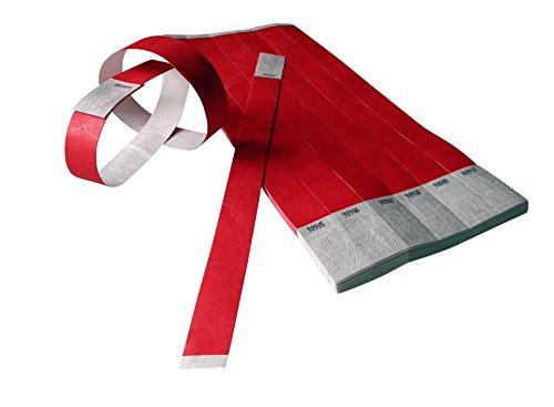 100 Stück Tyvek-Eintrittsbänder 19 mm breit x 255 mm lang - rot