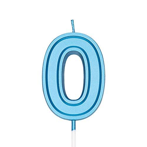 LUTER 7cm Azul Velas De Pastel De Cumpleaños Velas De Número Vela De Cumpleaños Adorno De Pastel Decoración para Fiestas Niños Adultos (Número 0)