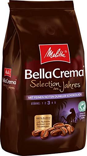 Melitta Ganze Kaffeebohnen, 100{acfa107b4ddfd0981ddfca66bf754e4c93e6c3c98b679e8dab842ddf7895cba3} Arabica, kräftig mit Noten dunkler Schokolade, Stärke 3, BellaCrema Selection des Jahres 2020, 1kg