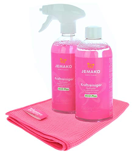 Jemako Set - Jemako Kraftreiniger Pink Grapefruit ECO Plus - Trockentuch M 45 x 60 cm, pink - inkl. Sprühpumpe & Sinland Feinmaschiges-Wäschenetz (1000ml)