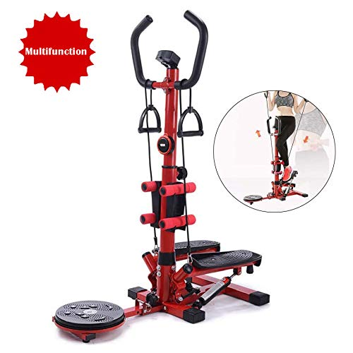 4-in-1 Pedal Exerciser Oefenmateriaal - Oefening Stepper Machine - Mini Stepper Machine Cardio Oefening Trainer Verstelbare Fitness Stepper Oefening Twisted schijf met handvatten,Pink