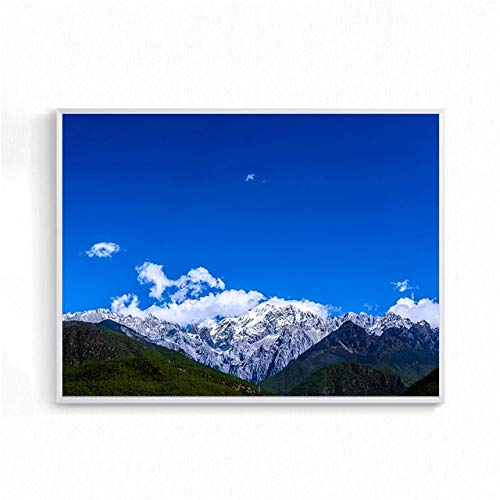 BGFDV Wall Art Chinese Landscape Poster Snow Mountain Painting Cloud Nature Poster Living Room Decoration Bedroom Art Picture