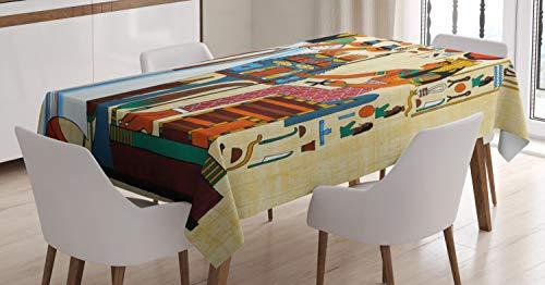 ABAKUHAUS Retro Mantele, Historia de Egipto, Estampado con la Última Tecnología Lavable Colores Firmes, 140 x 170 cm, Multicolor