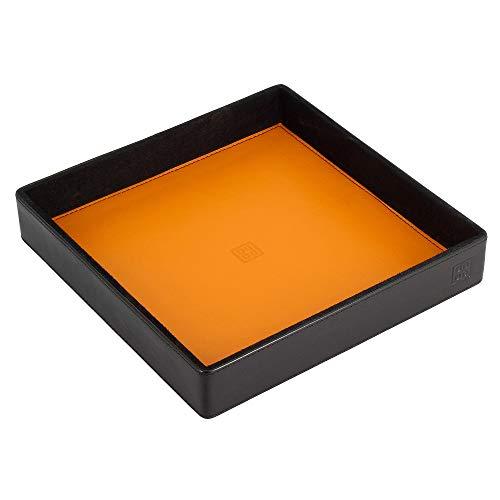 DUDU Taschenleerer aus Leder Bunt Design für den Eingang Ablageschale mit Geschenkbox Schwarz