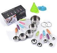 feihao Acciaio Inossidabile Misurare Tazze 12Pezzi,Cucchiai Dosatori,5 misurini di Tazze e 5 misurini cucchiai Cup,2 imbuti,per Cucina Cottura per misurare utensile da Cucina.