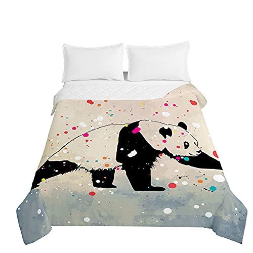 Chickwin Bettüberwurf Tagesdecke, 3D Panda Drucken Tagesdecken Herbst Sommer Bettüberwürfe Prägemuster Wohndecke Mikrofaser Bettdecke für Einzelbett Doppelbett (Aquarell,230x280cm)