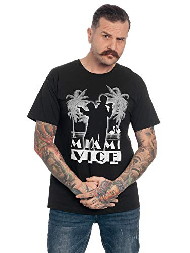 Miama Vice Logo Uomo T-Shirt Nero M, 100% Cotone, Regular