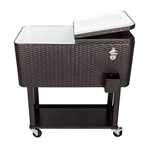 Outdoor Recreation 80QT Rattan Square Legs Cooler with Shelf