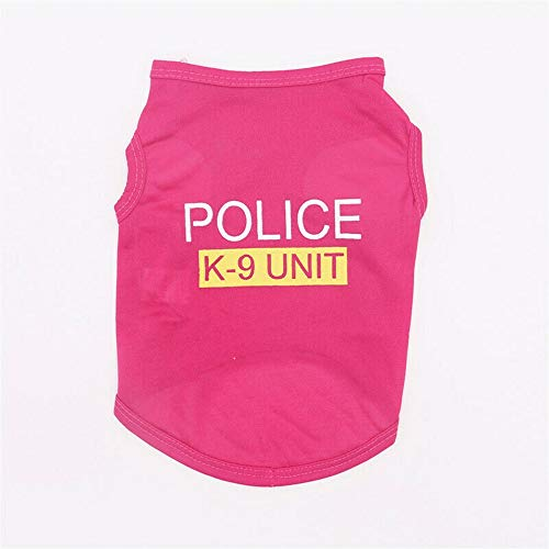 Puppy Chihuahua Sweater Coat Small Pet Dog Warm Clothes Apparel Police K-9 Hot Pink (M)