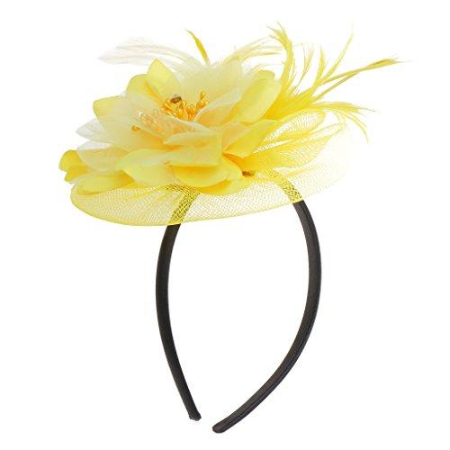 MagiDeal eleganter Kopfschmuck für Bräute mit Feder und Blume, Tiara für Hochzeiten und Partys, Haarschmuck gelb