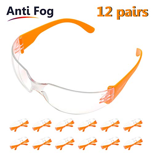 Pack 12 Gafas Protectoras Trabajo con Lentes Transparentes Antivaho - Gafas Proteccion Resistentes Cómodo y Ligero Para Construcciones, Laboratorio, Jardín SG001