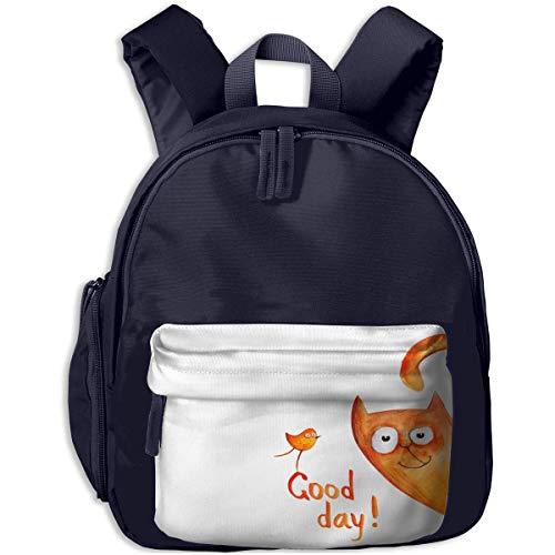 XCNGG Mini Kids Toddler Backpacks Happy Funny Cat Printed Bookbag for Girls