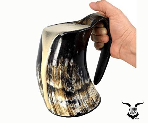 Loop Cuerno para Beber la Taza de Cerveza Jarra de Cerveza con Base de Madera - Genuino Artesanal Vikings Original Cuerno Taza de la Taza de Mead, ale y Cerveza - (Final Pulido, 750 ml   25 oz)