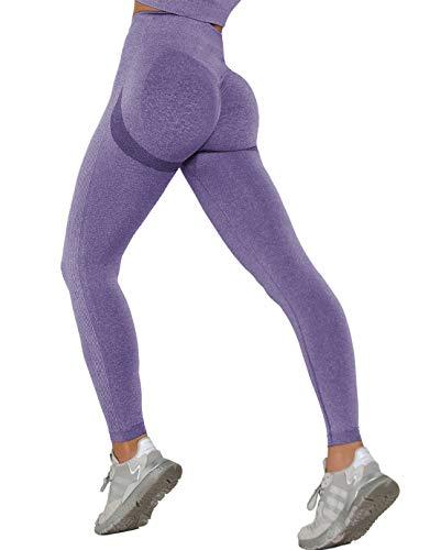 MANIFIQUE Workout Leggings Damen Seamless Butt Lifter Fitnesshose Blickdicht Kompressions Sportleggings Hohe Taille Yoga Tights Jogginghose Slim Fit Laufhose Bauchkontrolle Lila