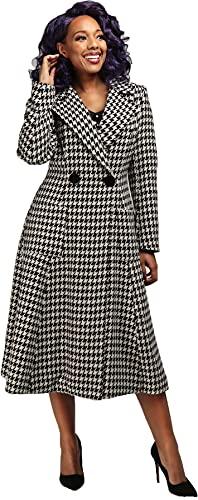 Collectif Damen Mantel Danna Houndstooth A-Linie 50s Coat Schwarz M