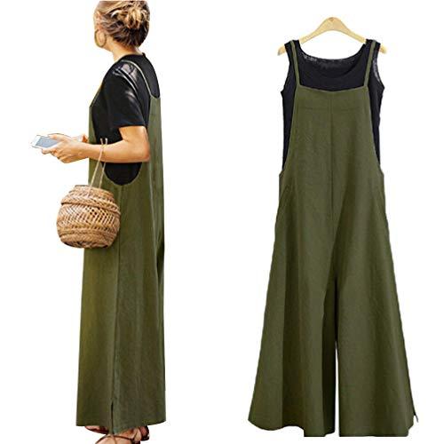 Jiatwhfhsa Frauen Casual Plus Size weites Bein Baggy Hosenträger Baumwolle Leinen Overalls Overall mit Tank-Top Übergroße Plus Size Rock Hose (Army green, XXL)
