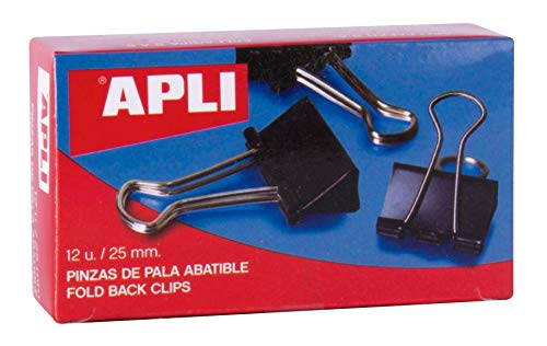 5 Star 296867 - Pack de 12 pinzas palas abatibles, 25 mm, color negro