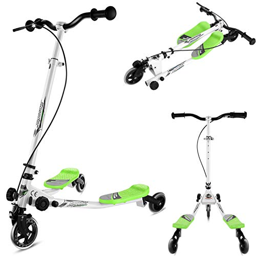 Swing Scooter for Kids 3 Wheel Foldable Tri Slider Toddler Scooters 3-Level Adjustable Height Dragon Kick Wiggle Scooter Push Drifting for Kids Teens Age 3 Years Old and Up