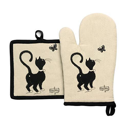 Winkler - Lot gant/manique Dubout Chat Papillon – 100% coton - Protection de cuisine, barbecue, pâtisserie – Dessous de plat en tissu – Illustration dessin français